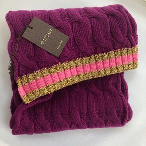 Gucci Cable Knit Scarf in Purple